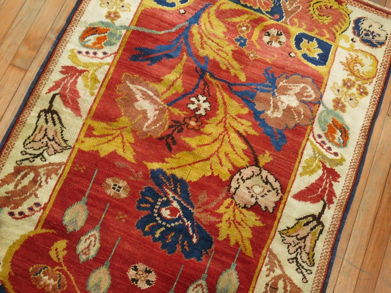 A mid-20th century Turkish scatter size rug purchased from a upper east side penthouse in Manhattan. The piece was ordered back in 1948 by a couple for their master bedroom. In excellent shape.