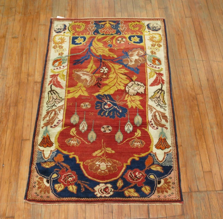 Hand-Woven Antique Turkish Rug For Sale