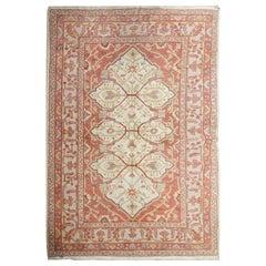 Antique Turkish Rug, Pastel Wool Rust Handmade Carpet