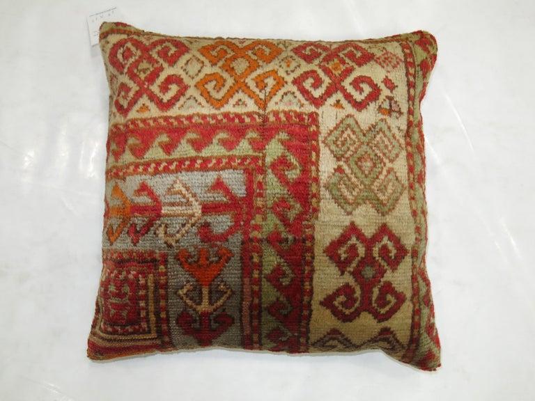 Oushak Antique Turkish Rug Pillow For Sale