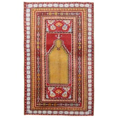 Antique Rugs Yellow Turkish Rug Carpet, Living Room Rug Home Decor from Milas