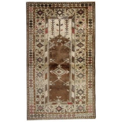 Antique Turkish Rugs, Vintage Rug Milas, Brown Rug, Handmade Carpet