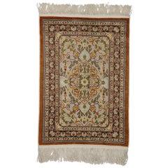 Antique Turkish Silk Metallic Souf Hereke Prayer Rug, Louis XIV Style Tapestry