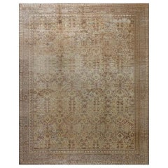 Antique Turkish Sivas Botanic Cream and Brown Handwoven Wool Carpet