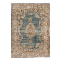 Antique Turkish Sivas Carpet, Blue Green Field, Formal Palette