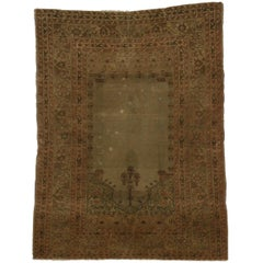 Distressed Antique Turkish Sivas Prayer Rug