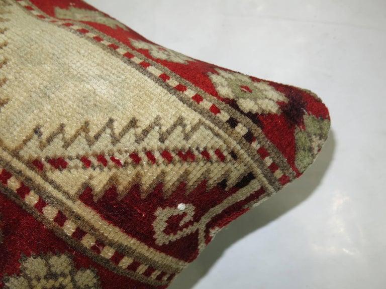 Oushak Antique Turkish Sivas Rug Pillow For Sale