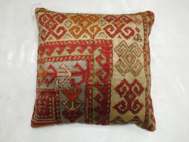 Antique Turkish Sivas Rug Pillow In Excellent Condition For Sale In New York, NY