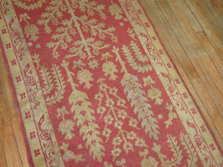 A fine quality Turkish Oushak runner featuring a cypress tree design.