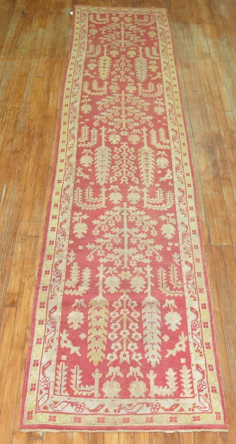 Hand-Knotted Antique Turkish Oushak Runner with Tree Design For Sale