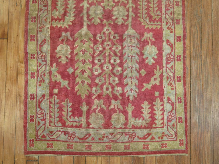20th Century Antique Turkish Oushak Runner with Tree Design For Sale