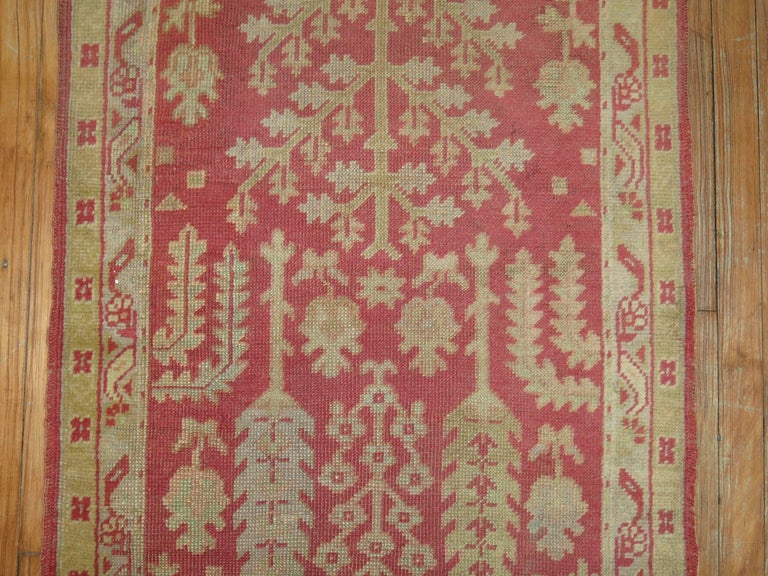 Antique Turkish Oushak Runner with Tree Design For Sale 1