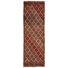 Antique Turkish Transitional Red and Blue Wool Kilim