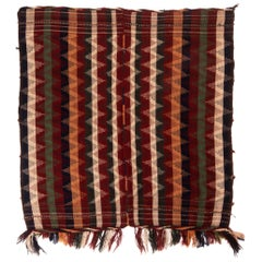 Antique Turkish Transitional Red and Green Wool Kilim Striped