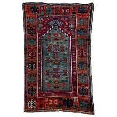 Antique Turkish Tribal Prayer Rug Woven in South-Eastern Anatolia Blue and Red