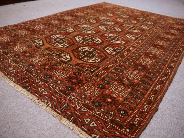 Fine hand knotted Russian Turkmen Bokhara rug or Turkmen rug 