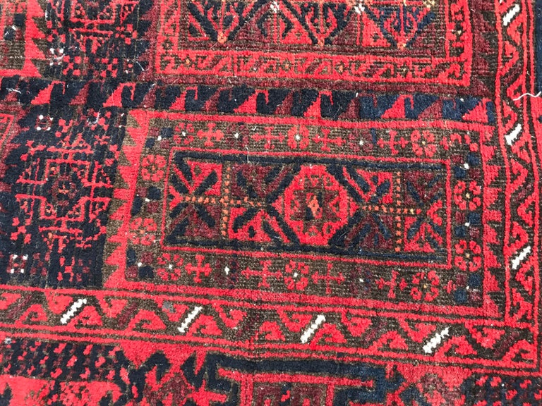 Hand-Knotted Antique Turkmen Belutch Afghan Rug