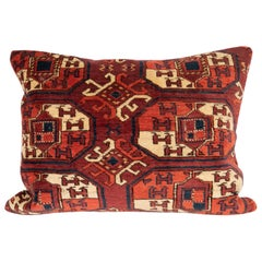 Antique Turkmen Rug Pillow Case Madefrom a 19th Century Turkmen Main Rug