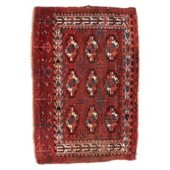 Antique Turkmen Yomud Chuval Woven Wool Dyed with Madder Root