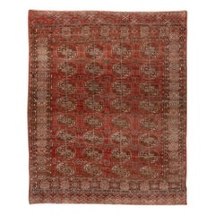 Antique Turkomen Ersari Rug, Red Allover Field, circa 1920s