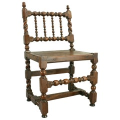 Antique Turned or Turners Chair in Walnut, 17th Century, Very Rare