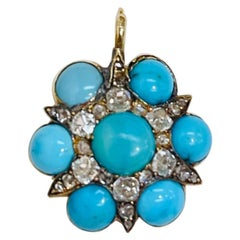 Antique Turquoise and Diamond Charm Pendant Necklace Estate Fine Jewelry