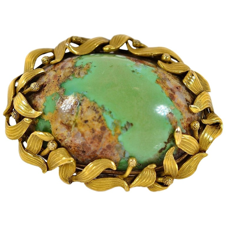 Antique Turquoise and Gold Brooch For Sale
