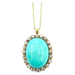 Antique Turquoise and Old European Cut Diamond 18k Yellow Gold Pendant