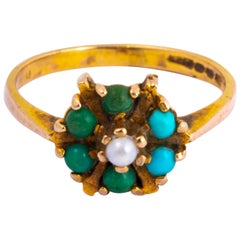 Antique Turquoise and Pearl 9 Carat Gold Cluster Ring