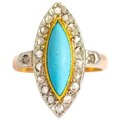 Antique Turquoise and Rose Cut Diamond 18 Carat Gold Ring