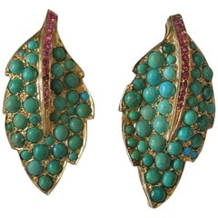 Antique Turquoise and Ruby Earrings