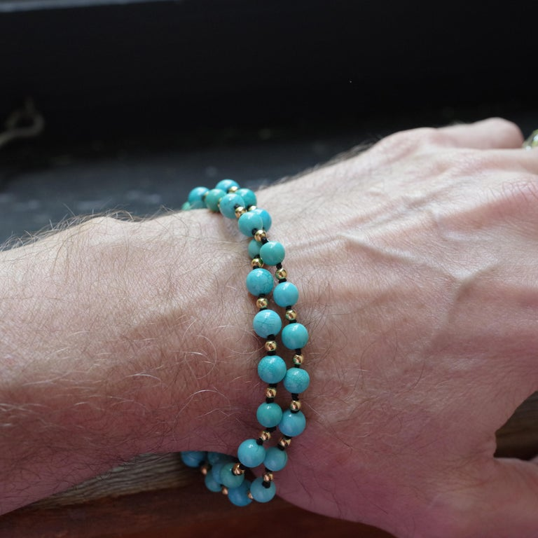 Antique Turquoise Bead Necklace with Gold Beads and Clasp 12