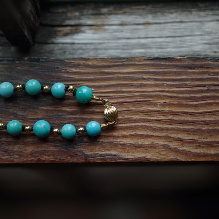 Antique Turquoise Bead Necklace with Gold Beads and Clasp 7