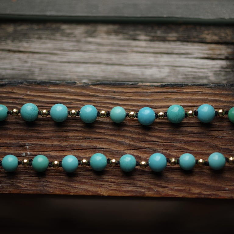 Antique Turquoise Bead Necklace with Gold Beads and Clasp 8