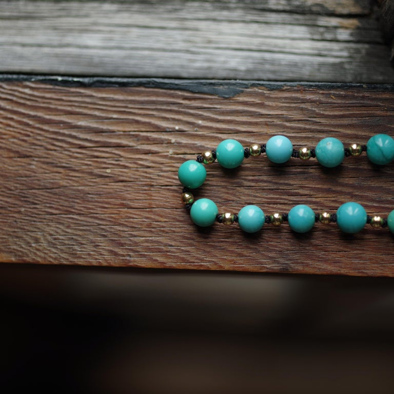 Antique Turquoise Bead Necklace with Gold Beads and Clasp 10