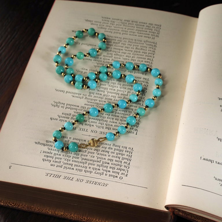 Antique Turquoise Bead Necklace with Gold Beads and Clasp 11