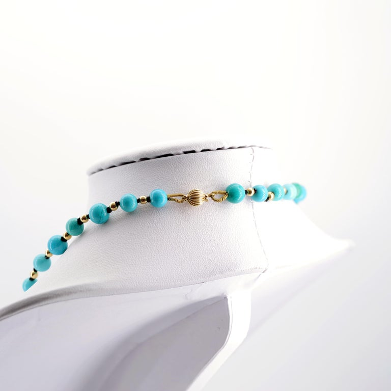 Women's or Men's Antique Turquoise Bead Necklace with Gold Beads and Clasp