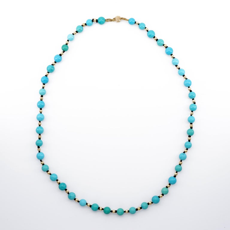 Round Cut Antique Turquoise Bead Necklace with Gold Beads and Clasp