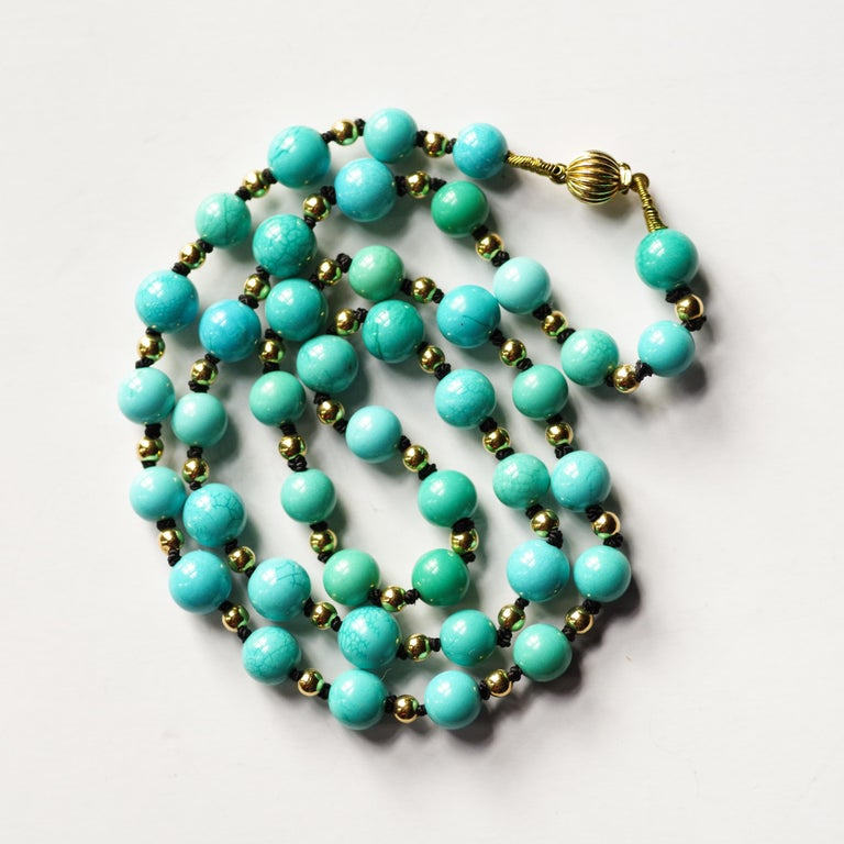 Art Deco Antique Turquoise Bead Necklace with Gold Beads and Clasp