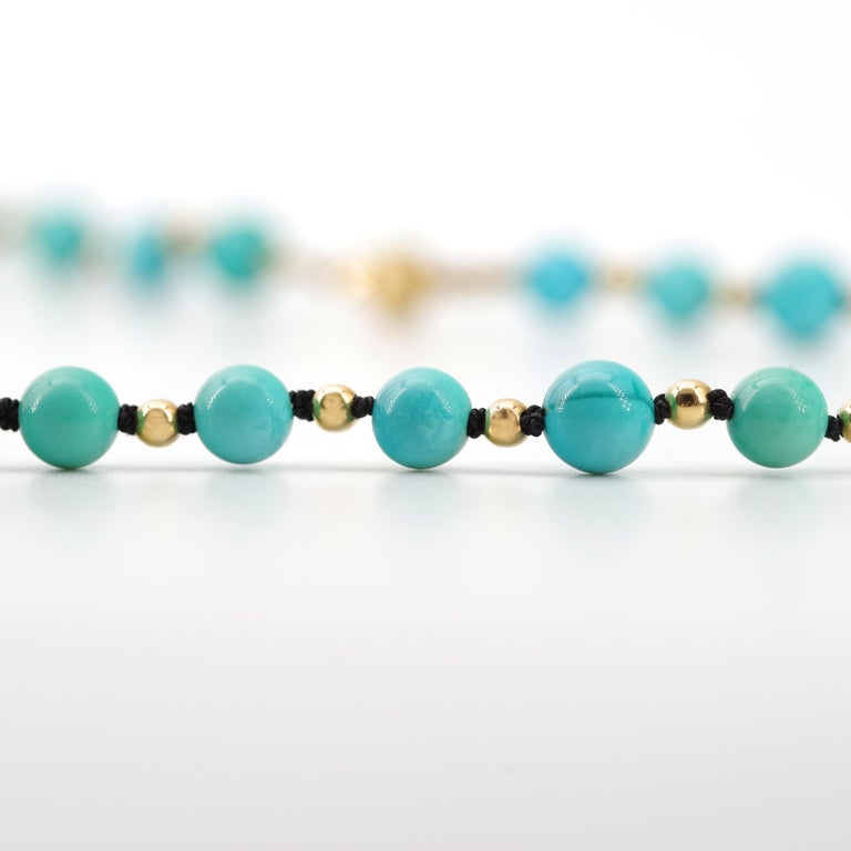 Antique Turquoise Bead Necklace with Gold Beads and Clasp 1