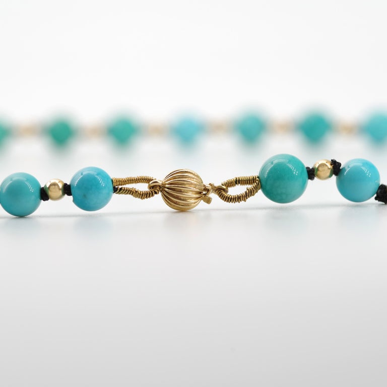Antique Turquoise Bead Necklace with Gold Beads and Clasp 2