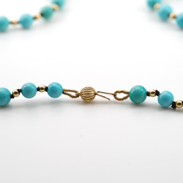 Antique Turquoise Bead Necklace with Gold Beads and Clasp 3