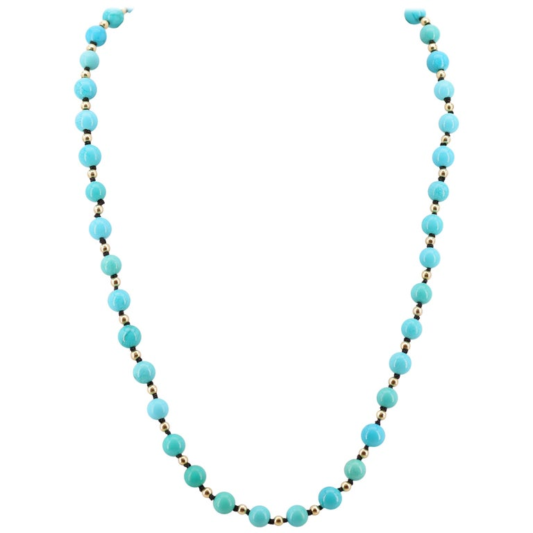 Antique Turquoise Bead Necklace with Gold Beads and Clasp In Excellent Condition In Southbury, CT