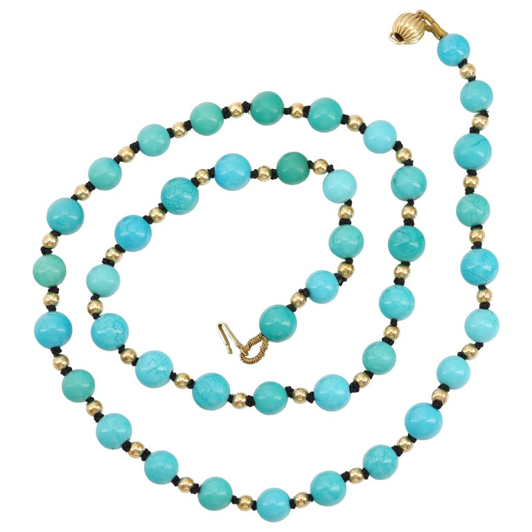 Antique Turquoise Bead Necklace with Gold Beads and Clasp