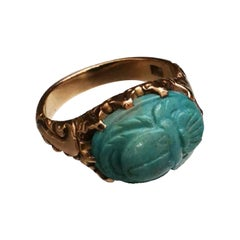 Antique Turquoise Beetle Shape on Yellow Gold 18 Karat Ring