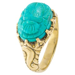 Antique Turquoise Beetle Shape on Yellow Gold 18 Karat Ring