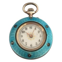 Antique Turquoise or Blue Enamel Silver Fob Watch