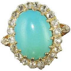 Antique Turquoise Cabochon Diamond Gold Ring