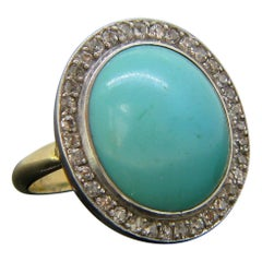 Antique Turquoise Cabochon Diamonds Cluster Yellow Gold Platinum Ring