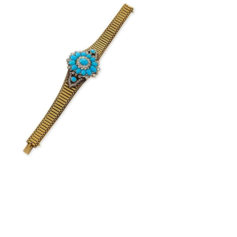Antique Turquoise Diamond and Gold Bracelet or Pendant In Excellent Condition For Sale In New York, NY